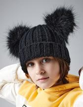 Junior Faux Fur Double Pom Pom Beanie